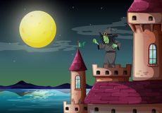 A witch above the castle near the sea Stock Photography
