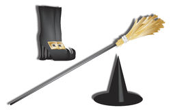 Witch accessories. 3d perspective of halloween witch accessories Royalty Free Stock Photo