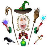 Witch Accessories Set Stock Photo