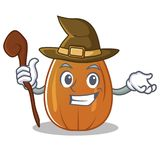 Witch almond nut character cartoon Stock Photos
