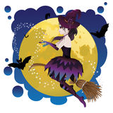 Witch And Full Moon Stock Image