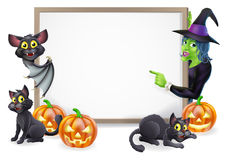 Witch And Vampire Bat Halloween Sign Stock Images