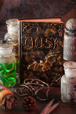 Witch apothecary jars magic potions book halloween decoration Royalty Free Stock Image