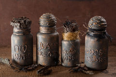 Witch apothecary jars magic potions halloween decoration.  royalty free stock photography
