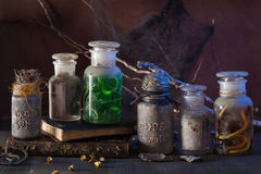 Witch apothecary jars magic potions halloween decoration.  Stock Image