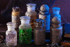 Witch apothecary jars magic potions halloween decoration.  royalty free stock photos