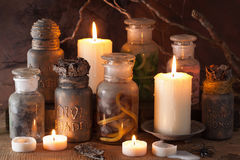 Witch apothecary jars magic potions halloween decoration.  royalty free stock photo