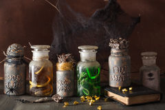 Witch apothecary jars magic potions halloween decoration stock image
