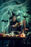 Witch Is Cooking Magic Potion Stock Photos