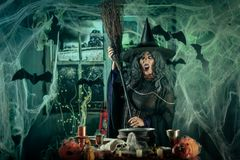 Witch Is Cooking Magic Potion Royalty Free Stock Images