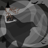 Witch with bats Stock Images