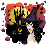 Witch and Bats Stock Photography