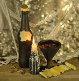 Witch beverage with scrap of paper Royalty Free Stock Photos