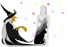 Witch with black cat Royalty Free Stock Photos