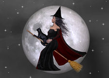Witch & Black Cat Flying Background. Designed with a beautiful poser witch and her black cat on a broom flying in the night sky. The moon is big tonight Royalty Free Stock Photography