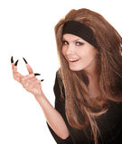 Witch in black costume  with claw finger. Royalty Free Stock Photos