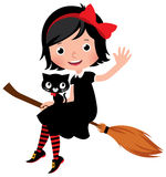 Witch in black dress flying on a broom Stock Photo