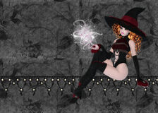 Witch on Black Floral Background. Designed with this beautiful red haired witch casting a spell. She is sitting on a textured line of felt and pearls. The royalty free illustration