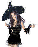 Witch in black hat Stock Photos