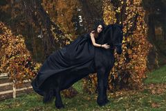 Witch black widow Queen hugs her black horse in a horror dark forest. Witch black widow Queen  hugs her black horse tenderly gently in a horror dark forest Royalty Free Stock Photography