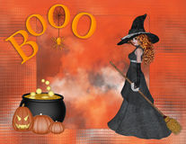 Witch Boo Halloween Background Stock Image