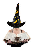 Witch with book and spider stock photo