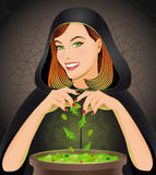 Witch brewing magic potion in cauldron Royalty Free Stock Photos
