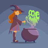 Witch brews a potion Stock Photos