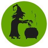 Witch brews a potion. stock illustration