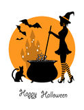 Witch brews a potion in stockings. Beautiful witch in striped stockings brews a potion in a big pot. Next to the boiler sitting cat and flying bats. In the Stock Images