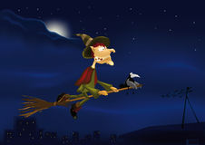 Witch on a broom Stock Photography