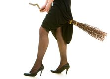 Witch on broom Royalty Free Stock Images