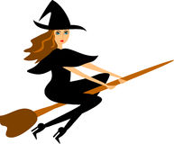 Witch on a Broom Stock Images
