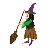 Witch with a broom Royalty Free Stock Images