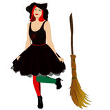 Witch with broom Royalty Free Stock Photo