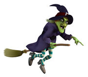 Witch on a broom. Flying witch on a broom Royalty Free Stock Photo
