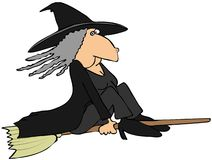 Witch on a broom Stock Photos
