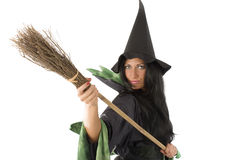 Witch and broom royalty free stock images