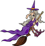 Witch on broom cartoon illustration Stock Image