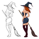 Witch with broom2. Cartoon sexy witch with a broom on  background, simple illustration Stock Photos