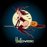 Witch with broom. Cartoon sexy witch sits on a broom on  background, simple illustration Royalty Free Stock Images