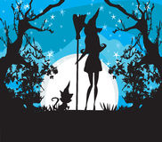 Witch with a broom and a cat Royalty Free Stock Photography