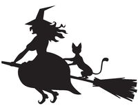 Witch on a broom and cat Royalty Free Stock Photos