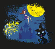 Witch with a broom and a cat Stock Images