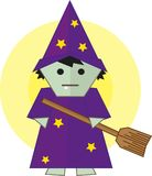 Witch with broom stock images