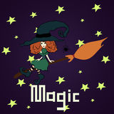 Witch on a broom. In dark sky Stock Photography