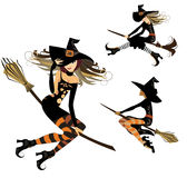 Witch on broom, flight witch, cheerful witch, image of halloween Stock Photo