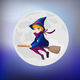 Witch with broom Stock Photography