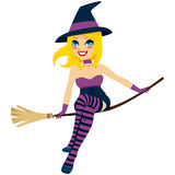 Witch Broom Flying Stock Images