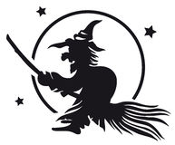 Witch on a broom Stock Image